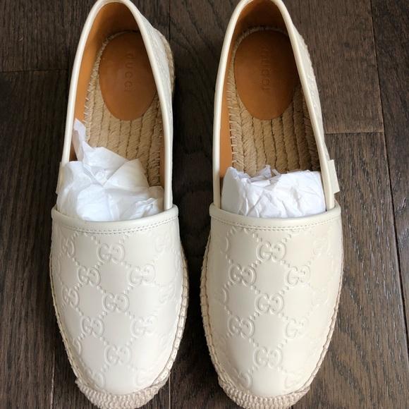 7c5ae7d8c79 Gucci Signature Embossed White Espadrilles Size 39